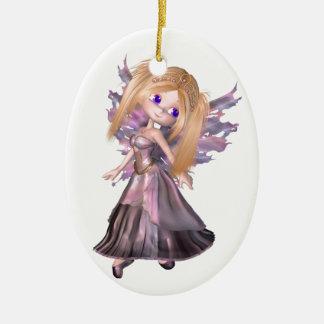 Toon Fairy Princess in Purple Dress Ceramic Ornament