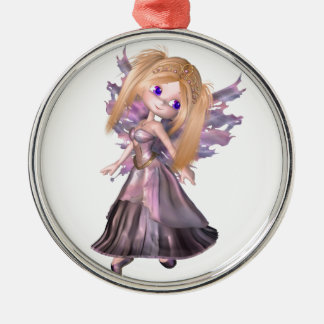 Toon Fairy Princess in Purple Dress Metal Ornament