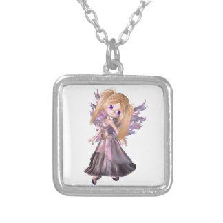 Toon Fairy Princess in Purple Dress Pendant
