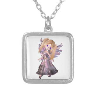 Toon Fairy Princess in Purple Dress Square Pendant Necklace