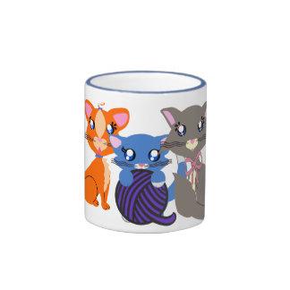 Toon Kitty Family Base Ringer Coffee Mug