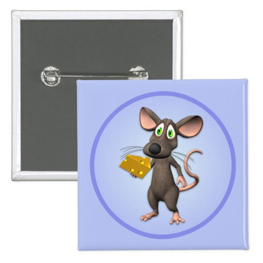 Toon Mouse With Cheese Button