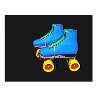 Toon roller skates blue postcard