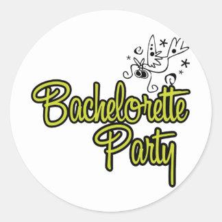 ToonDoveBachelorettePartyYlw Round Stickers