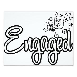 ToonDoveEngaged-Black&White Invitación 10,8 X 13,9 Cm