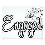 ToonDoveEngaged-Black&White Invitations