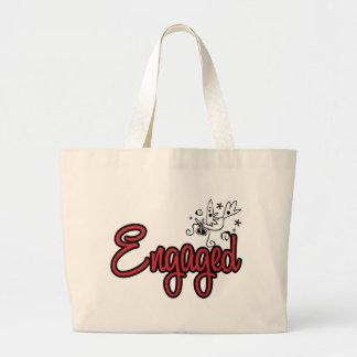 ToonDoveEngagedRed Canvas Bags