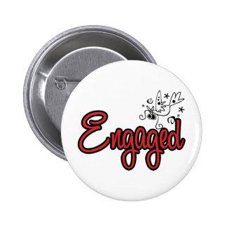ToonDoveEngagedRed Pinback Button