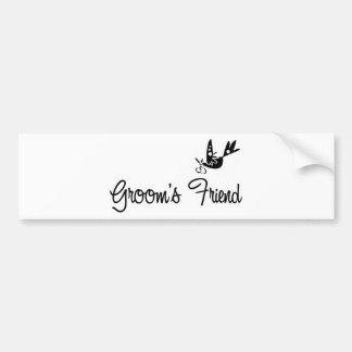 ToonDoveGroomsFriendblk Bumper Sticker