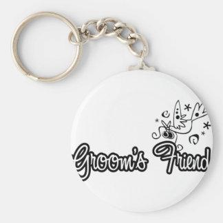 ToonDoveGroomsFriendWht Basic Round Button Keychain