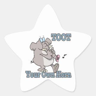 toot su propio dibujo animado divertido del pegatinas forma de estrellaes personalizadas