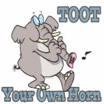toot your own horn trunk elephant funny cartoon cut out