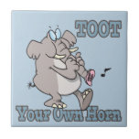 toot your own horn trunk elephant funny cartoon tile