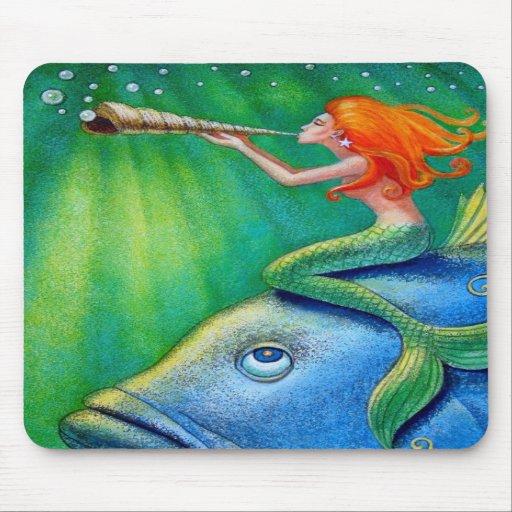 Toot Your Seashell Mermaid! Fantasy Art Mousepad