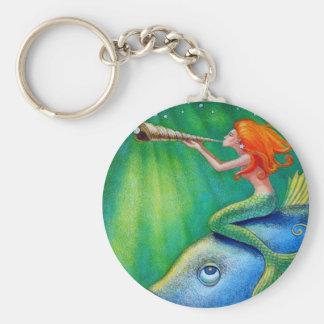 Toot Yur Own Seashell- Mermaid! Basic Round Button Keychain