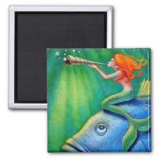 Toot Yur Own Seashell- Mermaid! 2 Inch Square Magnet