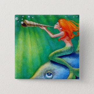 Toot Yur Own Seashell- Mermaid! Pinback Button