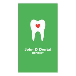 Tooth and heart green dental dentist business card