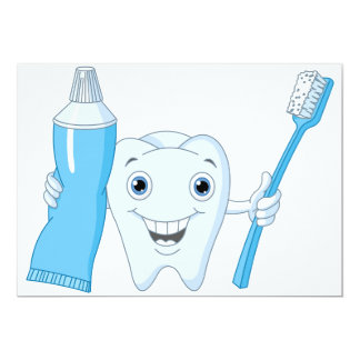 Tooth And Toothbrush Invitations