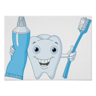 Tooth And Toothbrush Poster