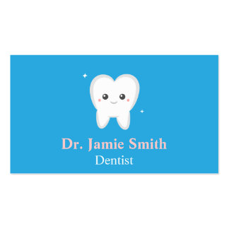 Tooth, Blue and White, Kids Dental Business Cards