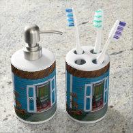 Tooth brush holder and soap dispenser set