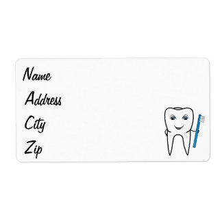 Tooth cartoon shipping label