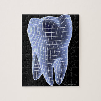 Tooth, computer artwork of a molar tooth jigsaw puzzle