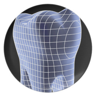Tooth, computer artwork of a molar tooth melamine plate