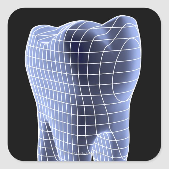 Tooth, computer artwork of a molar tooth square sticker