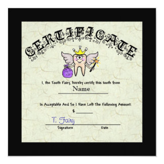 Tooth Fairy Certificate   Customize It! Invitation