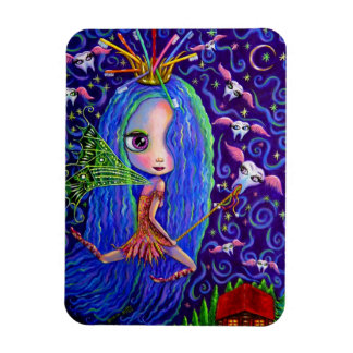Tooth Fairy Doll Big Eyes and Toothbrush Crown Rectangular Photo Magnet
