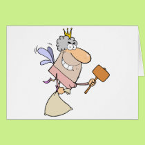 Tooth Fairy Flying With A Mallet And Bag Card