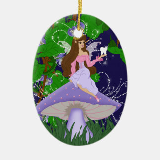 Tooth Fairy Princess on Purple Mushroom Ornament