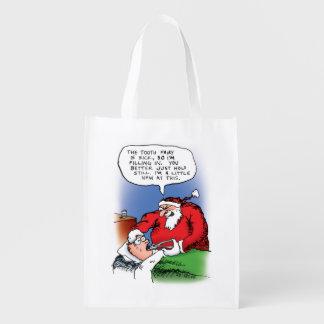 Tooth Fairy Santa Funny Christmas Cartoon Reusable Grocery Bags
