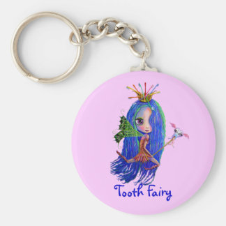 Tooth Fairy with Toothbrush Crown Big Eyes Keychain