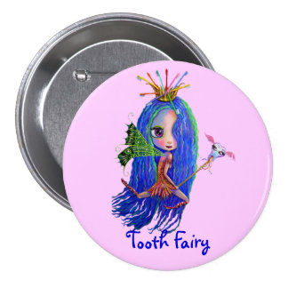Tooth Fairy with Toothbrush Crown Pinback Button