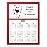 Tooth Happy Holidays from Dentist 2016 Calendar Postcard
