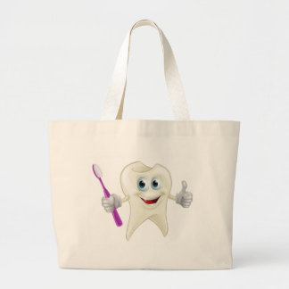 Tooth man holding a toothbrush bag