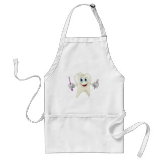 Tooth man holding paste and brush adult apron