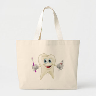 Tooth man holding paste and brush tote bag