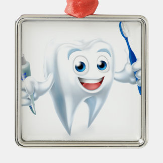 Tooth Mascot Metal Ornament