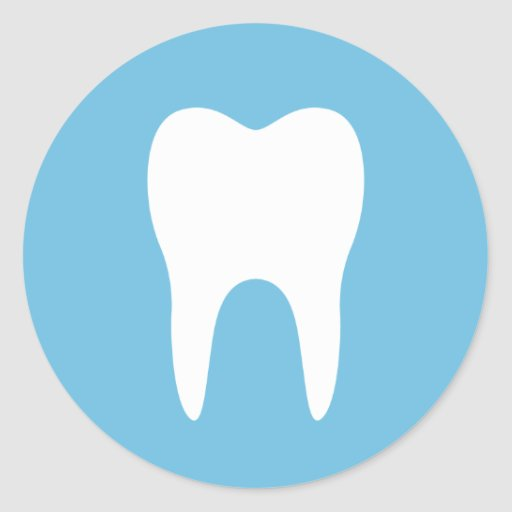 Tooth silhouette blue dentist dental sticker | Zazzle