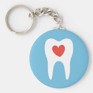 Tooth silhouette love heart dentist dental basic round button keychain
