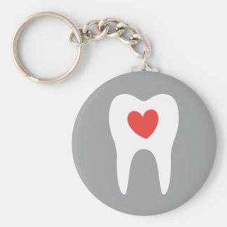 Tooth silhouette love heart dentist dental key chains