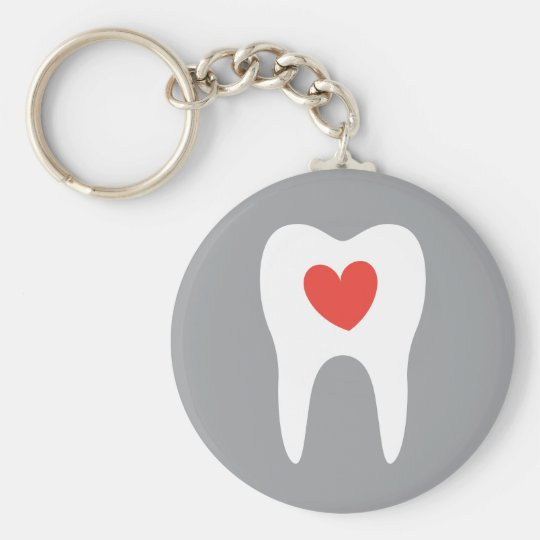 Tooth silhouette love heart dentist dental keychain