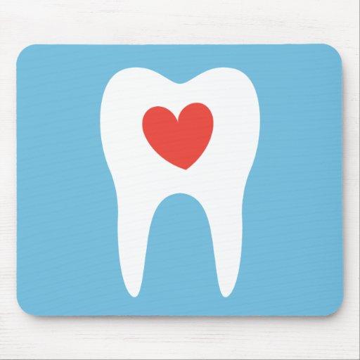 Tooth silhouette love heart dentist dental mousepad