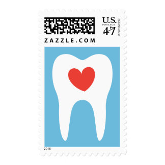Tooth silhouette love heart dentist dental stamps