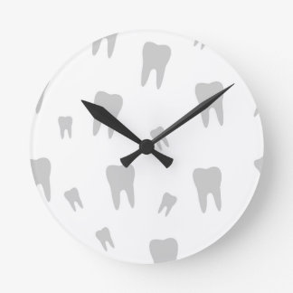 Tooth wallpaper for dentist round wallclock