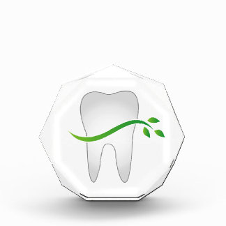 Tooth with green leaves acrylic award